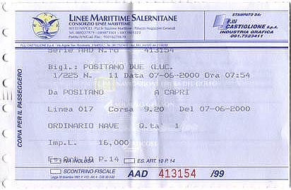 Ticket for a day-trip from Positano to Capri