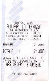 Lunch ticket of Blu Bar La Terrazza, Capri