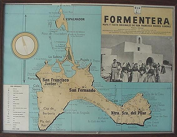 Map of Formentera, on the wall of our apartment, September 2000